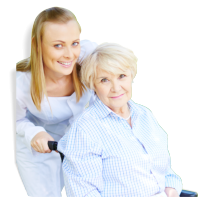 caregiver assisting senior woman to the wheelchair
